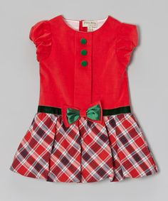 Red & Green Plaid Corduroy Bubble Dress - Infant & Toddler