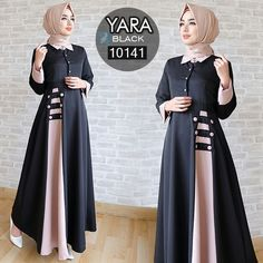 yara black maxi tgn pjg busui kancing, kerah leher, tanpa pashmina, balotelli, ld 94 pjg lb berat FB fanpage: Toko Alyla line WA: Hijab Gown, Hijab Style Dress, Abaya Style, Abaya Fashion, Modest Fashion, Women's Fashion Dresses, Muslim Women Fashion, Islamic Fashion, Mode Abaya