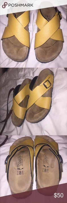 Mustard yellow birkenstocks Almost perfect condition Birkenstock Shoes Sandals
