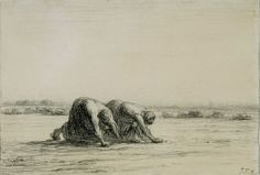 The Gleaners (A study for the picture in the Louvre, Paris)  1850  Chalk on paper  14.5 x 21 cm