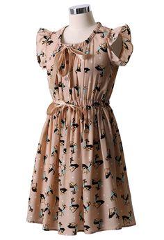 Deer Print Bowknot Dress