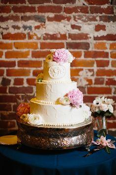 Classic Asheville Wedding by Graham Terhune - Southern Weddings Magazine Beaded Wedding Cake, Wedding Cake Rustic, Beautiful Wedding Cakes, Gorgeous Cakes, Pretty Cakes, Peony Cake, Cake Flowers, Monogram Cake, Monogram Wedding