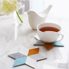 Step 1: Download and print the patterns (link below). Project Tip: Dense wool felt -- usually found on a bolt and purchased by the yard -- is ideal for heavy-use items, such as these sophisticated coasters.