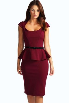 Keeley Peplum Belted Midi Dress - Dresses - Street Style, Fashion Looks And Outfit Ideas For Spring And Summer 2017 Dresses Uk, Dresses For Sale, Casual Dresses, Short Dresses, Dresses For Work, Peplum Dresses, Skater Dresses, Lace Peplum, Belted Dress