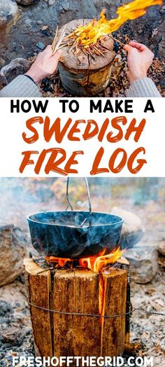 Swedish Fire Log, Canadian Candle, Finish Fire Torch... whatever you call it's one of the coolest camping hacks out there. #camping #campingtips #campingtricks