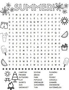 Summer Word Search Kids Printable Activities: Summer ...