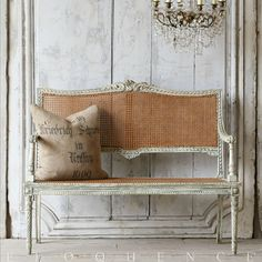 One of a Kind Antique Louis XVI French Style Natural Cane Settee