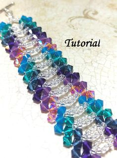 """Get your craft on! Tell all your friends """"I made that!"""" Brand new right angle weave Swarovski crystal and seed bead lace bracelet tutorial now available on Etsy! Seed Bead Bracelets Tutorials, Beaded Bracelets Tutorial, Woven Bracelets, Beading Tutorials, Colorful Bracelets, Lace Bracelet, Macrame Tutorial, Jewelry Bracelets, Beaded Jewelry Patterns"""