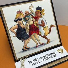 Art Impressions Rubber Stamps: Ai Girlfriends: handmade easel card.