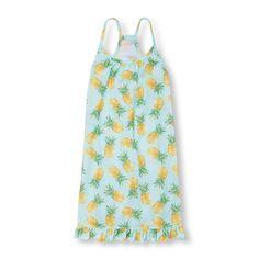 Girls Sleeveless Pineapple Print Ruffle Hem Nightgown $11.87 (Online Only)