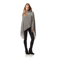Allison Brittney Cowl Neck Poncho With Fringe