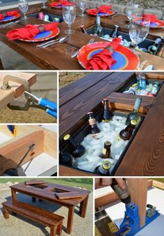 DIY Patio Table With Built-In Drink Cooler...http://homestead-and-survival.com/diy-patio-table-with-built-in-drink-cooler/