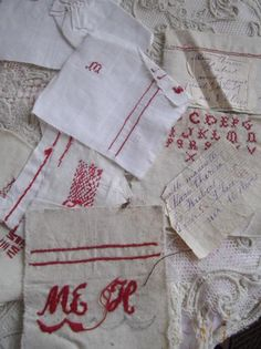 French School Girl Red and White Samplers From Simply-Chateau