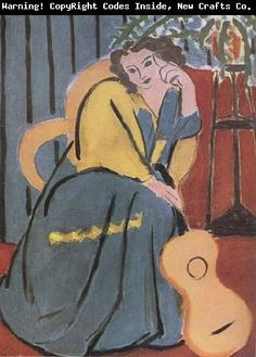 woman in yellow painting | Woman in Yellow and blue with Guitar (mk35) Henri Matisse China ...