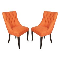 Pair of Elegant Tufted Mid Century Side Chairs  #1stdibs #midcenturymodern