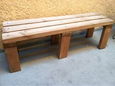 DIY Wooden Bench- we can totally make this, paint it, then add a cushion for seating against the 1/2 wall