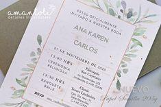 Bellas invitaciones para toda ocasión en papel semilla. Personalized Items, Wedding Invitations, Dancing, Paper Envelopes