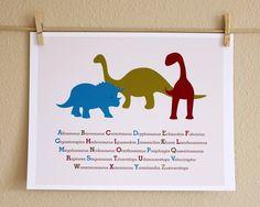 Nursery Art, Three Dinosaurs ABCs, 8x10, Unframed. $20.00, via Etsy.