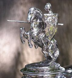 Charging Knight Hood Ornament by Car Badges, Car Logos, Hybrid Trucks, Car Bonnet, Car Radiator, Car Hood Ornaments, Car Head, Unique Cars, Automotive Art