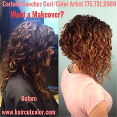 Photo of Hair Cut & Color Design by Carleen Sanchez - Reno, NV, United States. Curl transformation from long to a Curly Aline by Carleen Sanchez