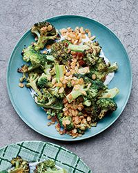 Charred Broccoli with Blue Cheese Dressing and Spiced Crispies | Food & Wine