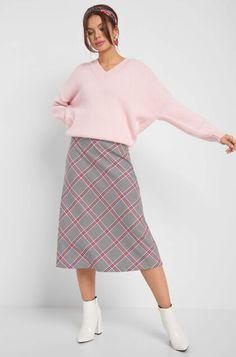 Karierter Rock - Rot & Rosa Oversize Pullover, Elegant, Midi Skirt, Tops, Skirts, Highlights, Fashion, Checkered Skirt, Women's