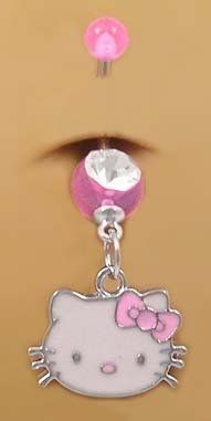 Pretty Cute Pink Hello Kitty Head Face Dangle Belly button Navel Ring 14 gauge . $11.00