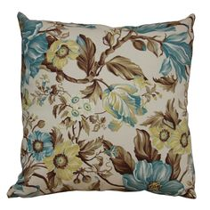 Capa almofada Floral Marrom e Turquesa