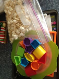 Have students recreate shapes with marshmallows and tooth picks.   Kindergarten math centre.