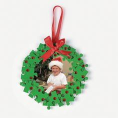 Puzzle Piece Wreath Photo Frame Ornament Craft Kit - OrientalTrading.com