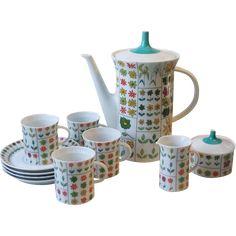 #VintageBeginsHere at www.rubylane.com @rubylanecom --Rosenthal China Emilio Pucci Piemonte Demitasse Coffee Pot Set Service for Four Mid Century Germany