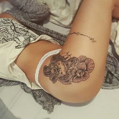 Elephant and roses mandala Dotwork thigh tattoo