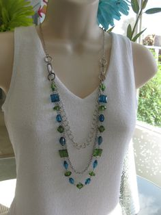 Blue+and+Green+Long+Necklace+Beaded+Necklace+by+RalstonOriginals,+$18.00