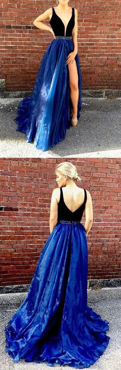 High Fashion A-Line V-Neck Blue Tulle Long Prom/Evening Dress with Beading B0732