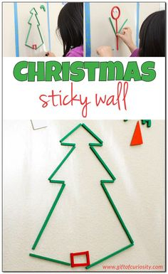 """Use a Christmas sticky wall to build creativity, fine motor skills, and visual spatial skills. This is a great open-ended Christmas """"craft"""" that kids can come back to again and again during the holiday season. Fine Motor Activities For Kids, Preschool Learning Activities, Advent Activities, Winter Activities, Therapy Activities, Preschool Ideas, Toddler Activities, Preschool Christmas Crafts, Holiday Crafts For Kids"""