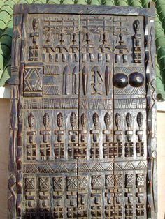 Carved African door. Dogon people, Mali