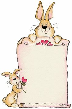 Ilustration by Laurie Furnell Page Borders Design, Border Design, Cute Clipart, Rabbit Clipart, Borders And Frames, Printing Labels, Note Paper, Vintage Easter, Writing Paper