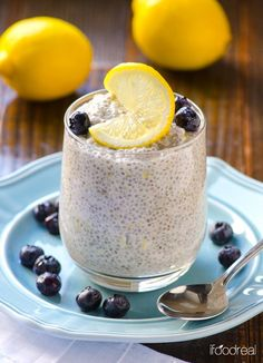 Lemon Blueberry Chia Pudding Recipe -- Creamy and full of fresh lemon flavour chia pudding that is high in protein, and tastes like a slice of lemon blueberry cheesecake.