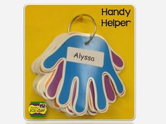 No more classroom jobs.. just have 1 handy helper who does everything.  Rotate the hand every day… white label the names on and use year after year! year 1 classroom display, teachers pet, handi helper, preschool teacher tips, helping hands