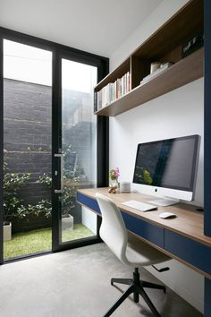 Use vertical space for added storage in a home office. | House in Albert Park Village by Kirsty Ristevski for HomeAdore.