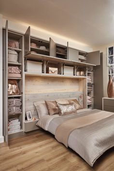 Bedroom wall: Over Bed Storage in 2019 Fitted bedrooms, Fitted bedroom furniture, Small bedroom storage Small Bedroom Storage, Small Master Bedroom, Small Bedroom Designs, Bed Storage, Design Bedroom, Small Bedroom Wardrobe, Small Basement Bedroom, Bedroom Colors, Small Built In Wardrobe Ideas