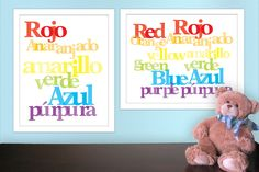 Bilingual Baby Spanish Colors for Nursery on etsy.