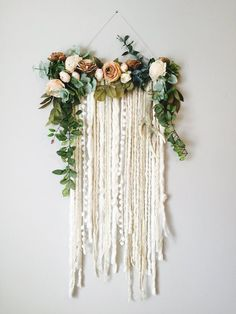 Wall Hanging, Floral Wall Hanging, Flower Wall Art, Large Wall Hanging, Modern W… – Wall Decor 2020 Hanging Flower Wall, Yarn Wall Hanging, Flower Wall Decor, Diy Wall Decor, Wall Hangings, Hanging Art, Art Decor, Wall Decorations, Ceremony Decorations