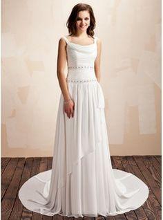 A-Line/Princess Cowl Neck Court Train Chiffon Wedding Dress With Ruffle Beading