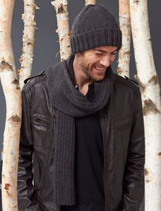 Yarnspirations.com - Caron Men's Basic Hat and Scarf Set - Patterns | Yarnspirations