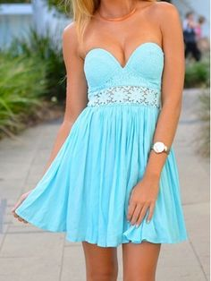 Fascinating Blue Lace A-line Sweetheart Mini Prom Dress