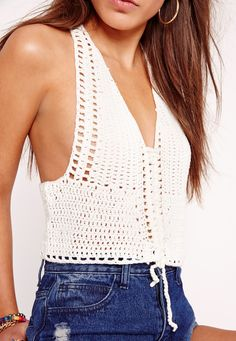Missguided - Lace Up Crochet Crop Top White