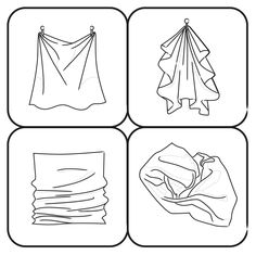 Image:Fabric Outline Step 15.jpg Draw lines on the cloth. Remember to start drawing them from the nail all the way to the middle part of the cloth. This will represent the folds that will take place if a fabric will droop at the middle from two support points.