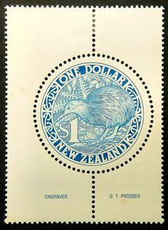 Kiwi Bird, Nueva Zelanda-hecho a mano con marco estampilla arte 15812