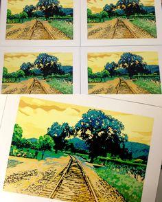Railroad Tracks, Prints, Printmaking, Train Tracks
